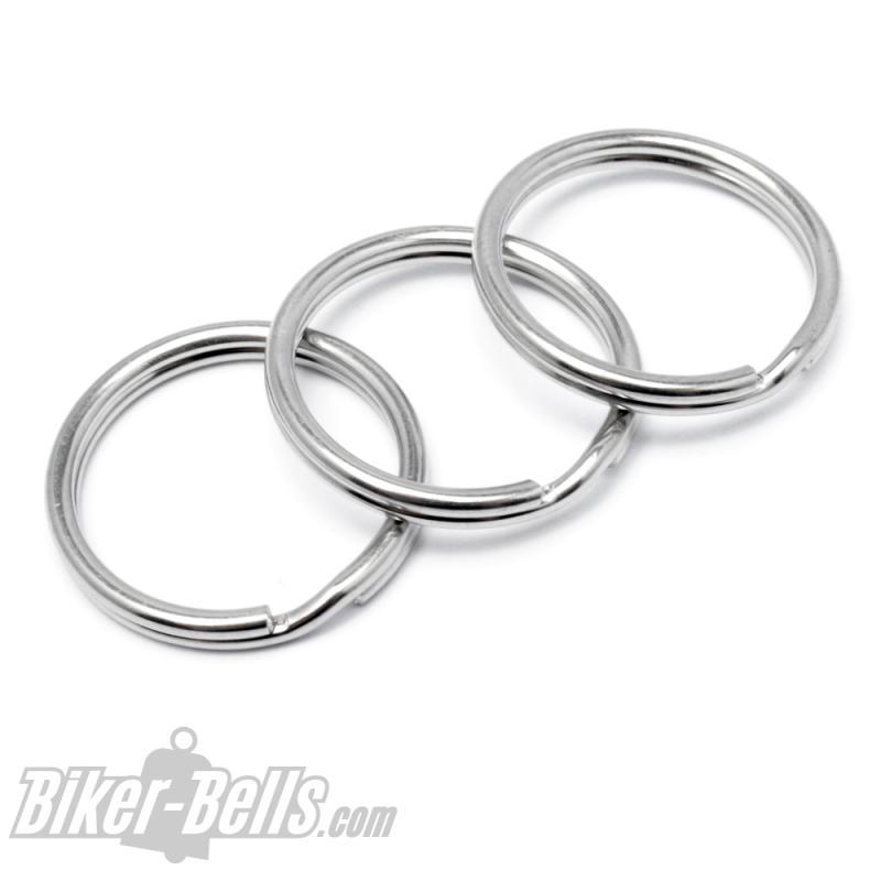 3 Schlüsselringe aus Edelstahl 20mm Durchmesser geeignet für Biker-Bells zur Montage