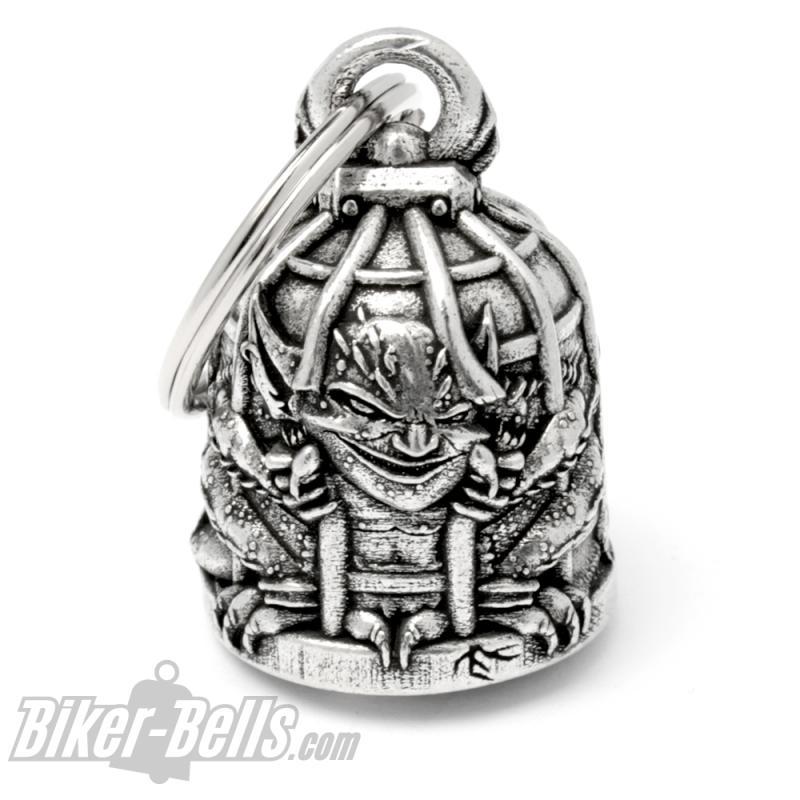 Biker-Bell mit Gremlin im Käfig eingesperrt Motorradfahrer Glücksbringer Glocke