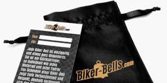 Jede Biker-Bell kommt mit Samtbeutel und Erklärungskarte